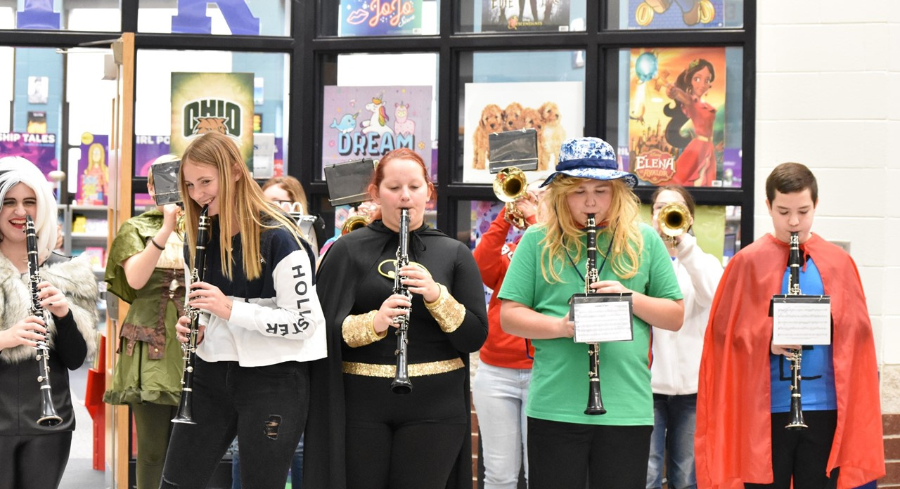The band plays during the cross country send-off.