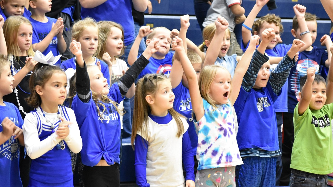 Elementary students enjoy the first pep rally of the school year.