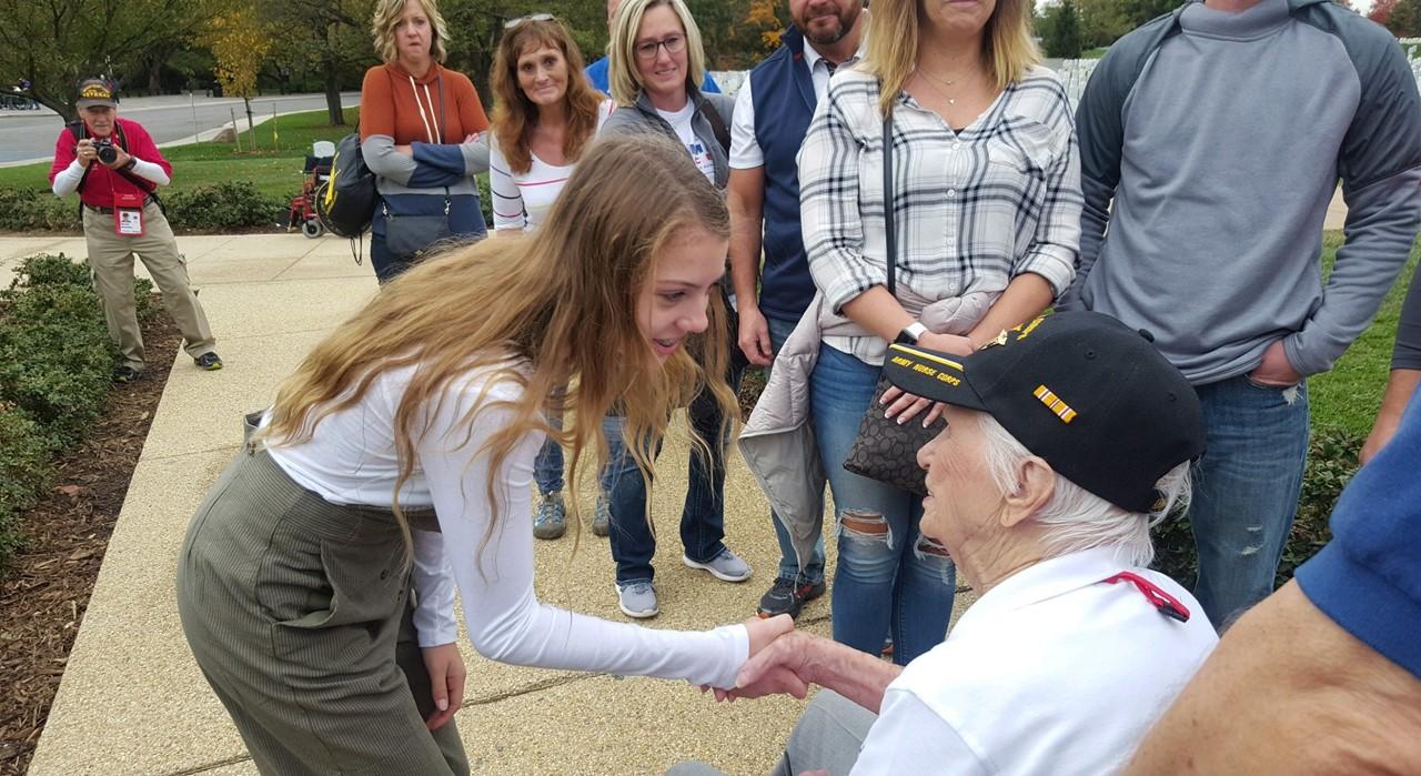8th grader meeting veteran in D.C.