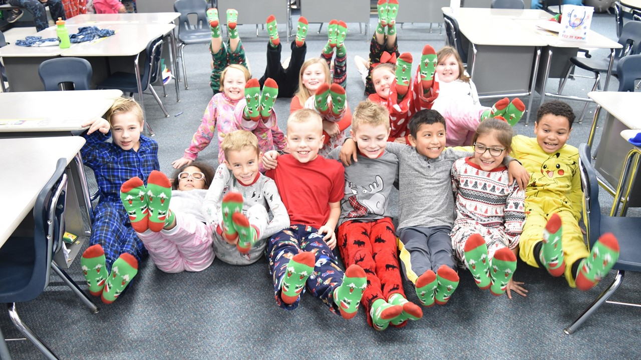 first graders in their Christmas socks