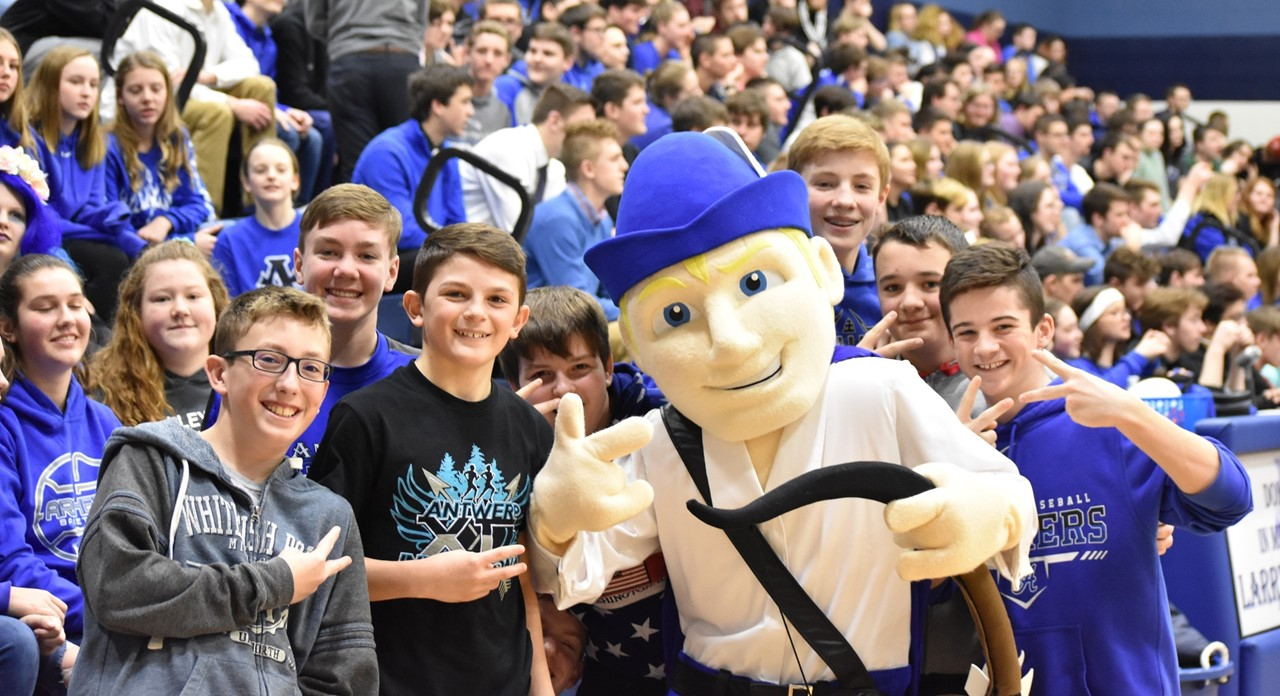 Middle school students enjoy meeting Antwerp's new mascot Archie at the winter pep rally.