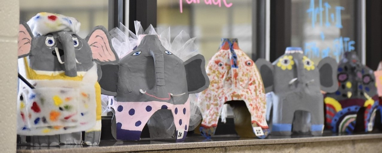 Art I, Art II, and fifth grade GATE students' elephant creations