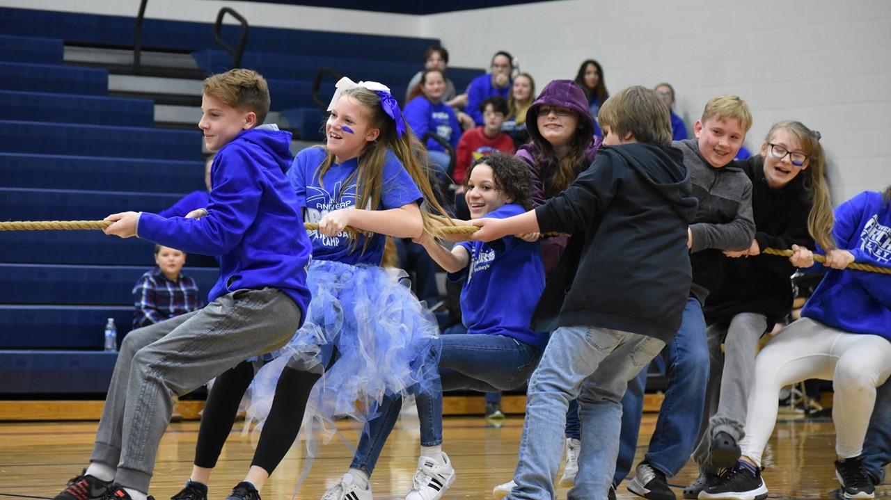 7th graders at winter pep rally