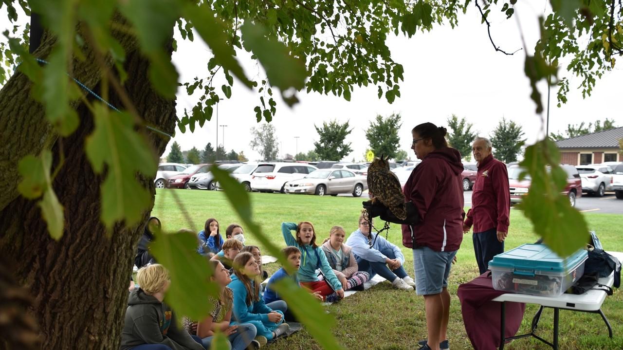 elementary students on prairie garden day