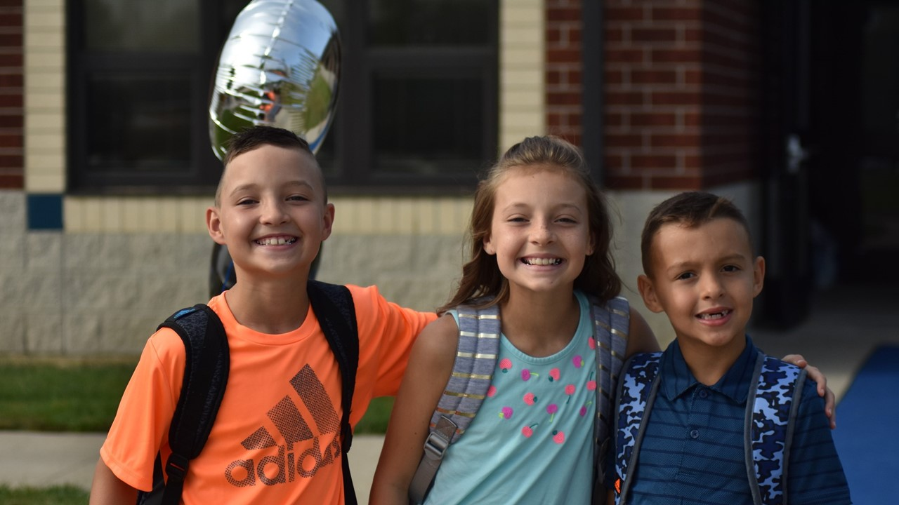 elementary students on first day of school